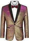 COOFANDY Men's Fashion Suit Jacket Blazer One Button Luxury Weddings Party Dinner Prom Tuxedo Gold Silver