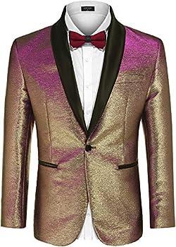 COOFANDY Men s Fashion Suit Jacket Blazer One Button Luxury Weddings Party Dinner Prom Tuxedo Gold Silver  Medium Rose Golden