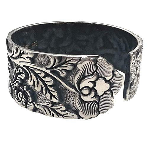 YBB-YB LXX-LX S925 Ladies Vintage Silver Bracelet Wide Opening Relief 3D Peony Creative Carving Temperament Personality Gift Chinese Classic