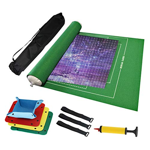 Jigsaw Puzzle Roll Mat Felt Mat Puzzle Storage Saver Up to 1500 Pieces with Drawstring Storage Bag