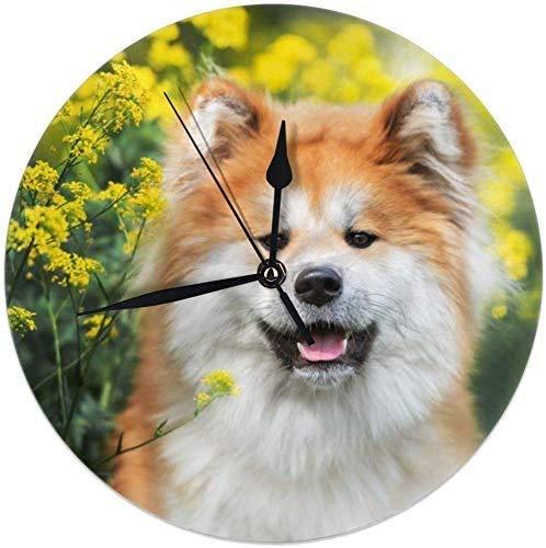 Mesllings Reloj de pared redondo con diseño de perro Akita Inu que posa en flores amarillas, silencioso, sin garrapatas, para decoración del hogar, dormitorio, sala de estar, dormitorio de 25 cm