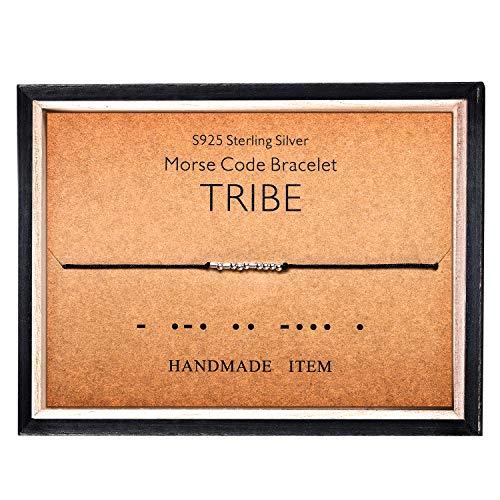 Morse Code Bracelet 925 Sterling Silver Beads on Silk Cord Secret Message TRIBE bracelet Gift Jewelry for her