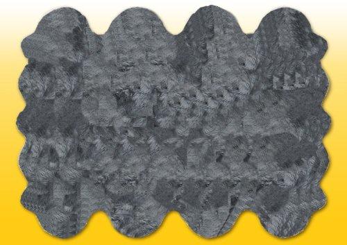HEITMANN Fellteppiche grau gefärbt aus 8 Lammfellen, Größe ca. 185 x 235 cm,30 Grad waschbar
