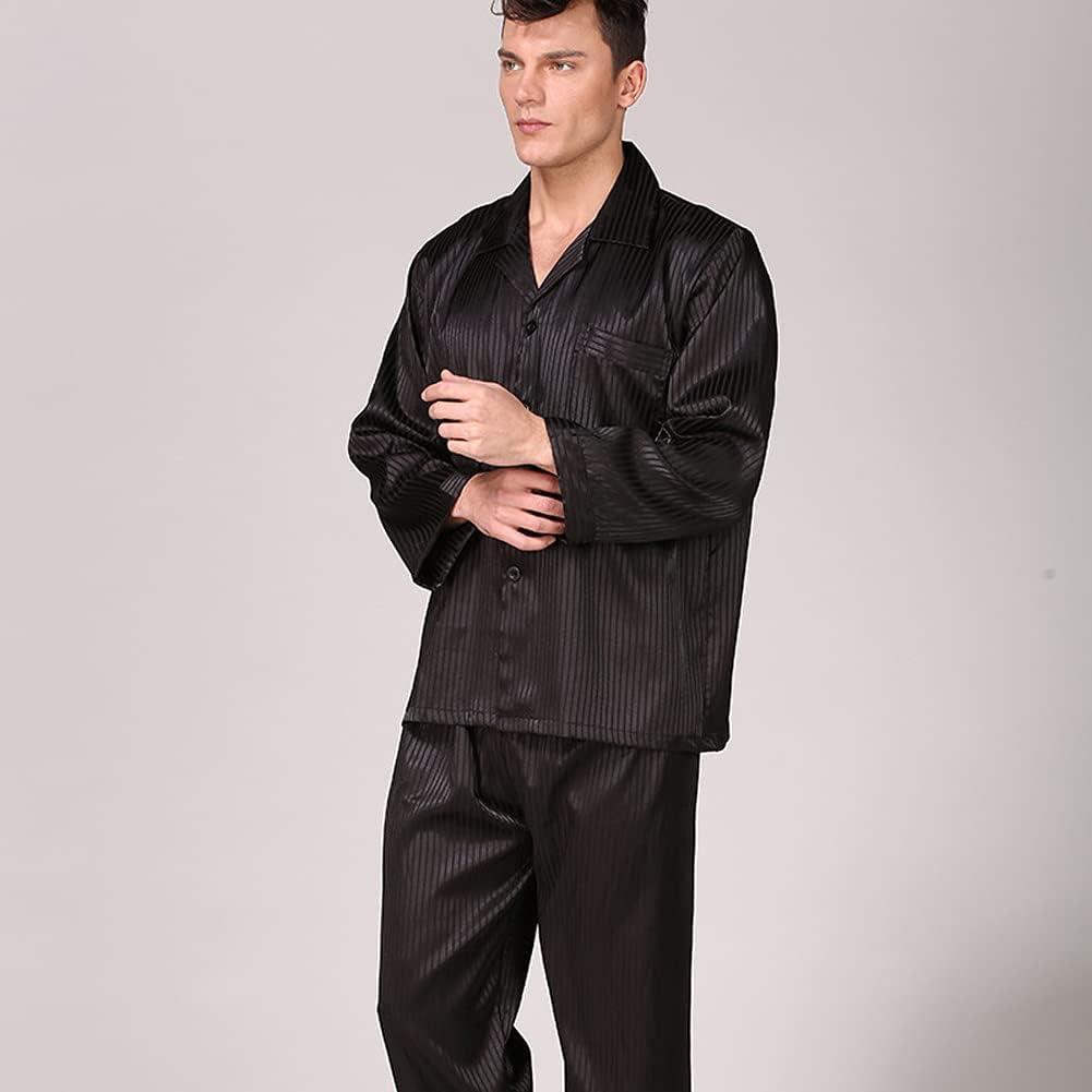 RH-ZTGY Mens Silk Satin Pajamas Pyjamas Set Sleepwear Set Loungewear Fits All Seasons,Black,3XL