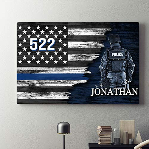 Personalized Police Officer USA Thin Blue Line Lives Matter Support Patriot Pride American Flag Canvas Prints Wall Art Vintage Wooden Customized Home Decor Patriotic Deputy Sheriff Gifts (12x8)