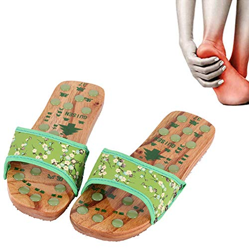 KRILY Fußmassageschuhe Flache Holzpantoffeln Aus Holz Jade Stone Acupoint Massage Slippers Reflexzonenmassage Sandalen Für Männer Frauen,Grün,37