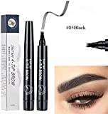 GHSY 5Pcs 4 Points Eyebrown Pen 4 Tip Brow Microblading Eyebrow Pen Long-Lasting Waterproof Fork Tip Eyebrow Pen Natural Tattoo Eyebrow Enhancers Makeup Tools Eye Brow Pen (Negro, 5pcs)