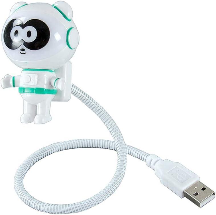 CHIYOU Creative Design Energy Saving Panda Astronaut Spaceman USB LED Night Light Computer Laptop Notebook Mini Keyboard Lamp USB Charging Port Design Flexible Bendable Hose Portable (Green 1pcs)
