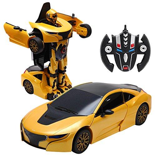 COSTWAY 2,4 GHZ RC Transformator Roboter-Auto, Auto-Roboter ferngesteuert, Kinderspielzeug verwandelbar, Automodell mit Scheinwerfer und Sprachfunktion, inkl. Fernbedienung (Gelb)