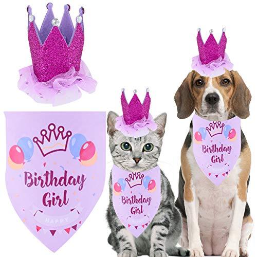 6 Stück Hund Geburtstag Party Hundehüte Katzenhüte Krawatte Cake Topper Tutu Kleid Hundegeburtstag Banner deko für Haustier Katzen Kätzchen Hunde (Hut+Kopftücher(Lila))