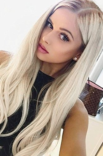 EEWIGS Blonde Wigs for Women Lace Front Wigs Synthetic Platinum Blonde Dark Brown Root Ash...