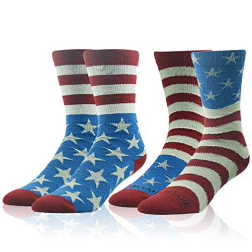 Mens Dress Novelty Socks, Ristake Men's Crew American Flag Moisture Wicking Control Compression Performance Outdoor Sports Basketball Socks with Arch Support & Non Slip Cuff, Large, 2 Pairs
