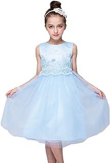 6fe161e0a74ac YuanDian Fille Enfant Tulle Mariage Cortege Robe De Ceremonie Dentelle  Perles Artificielles Cocktail Soirée Fete Anniversaire