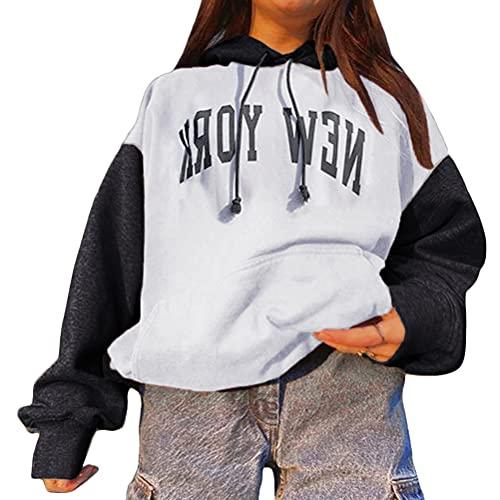 Tomwell Mujer Sudadera con Capucha Manga Larga Jerséis Sueltos Sudadera con Estampado la Camiseta Otoño Invierno Mujer Chándal Sweatshirt Pullover B Blanco XXL