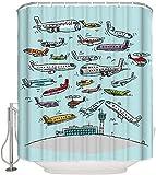 JOOCAR Design Duschvorhang, überfüllte Flugzeuge Flotte über dem Flughafen, einzigartige neuartige gedruckte Designs, wasserdichter Stoffstoff, Badezimmer-Dekor-Set mit Haken