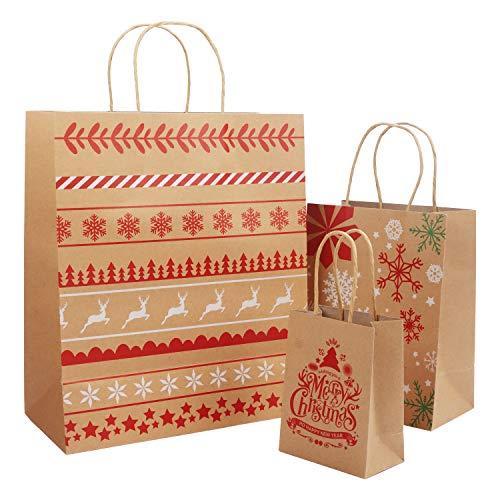 Belle Vous Geschenktüten Weihnachten (18 Stk) - Geschenkverpackung Papiertüten Kraftpapier 3 Größen (je 6 Stk) – Geschenktasche Geschenktütchen mit Griff für Weihnachtsgeschenk, Gebäck, Party Geschenk