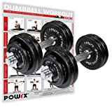POWRX Mancuernas Hierro Fundido 30 kg Set (2 x 15 kg) + PDF Workout (Negro)