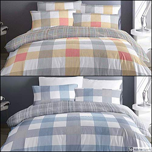 Fusion Barcelona Check Reversible Easy Care Duvet Cover Set, Blue, Double
