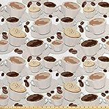 Lunarable Coffee Stoff von The Yard, Tassen Kaffee Muster