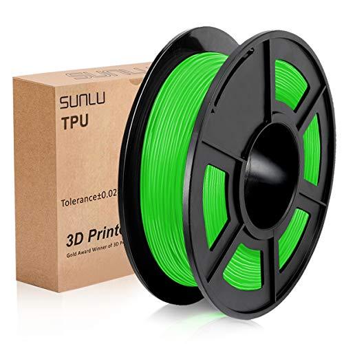 SUNLU 3D Printer Filament TPU,TPU Filament 1.75 mm,Low Odor Dimensional Accuracy +/- 0.02 mm 3D Printing Filament,1.1LBS (0.5KG) Spool,Green TPU
