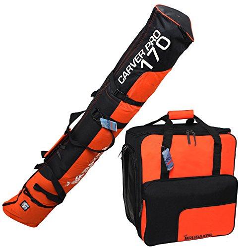 BRUBAKER Set de Ski 'Champion' - Housse à Skis et Sac à Chaussures de Ski pour 1 Paire de Skis + Bâtons + Chaussures + Casque - 170 cm - Noir/Orange