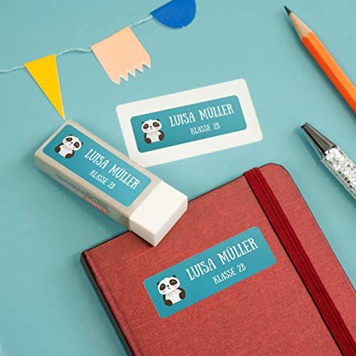 sendmoments Kind Sticker, Panda, viele Motive und Farben, 99 Aufkleber rechteckig 48 x 16 mm, selbstklebend, personalisiert mit Namen für Schule, Sport und Freizeit