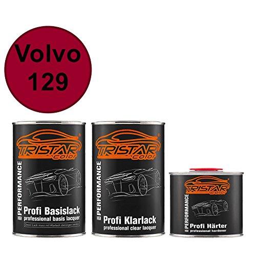 TRISTARcolor Autolack Set Dose spritzfertig für Volvo 129 Dunkelrot Basislack + 2K Klarlack 2,5L
