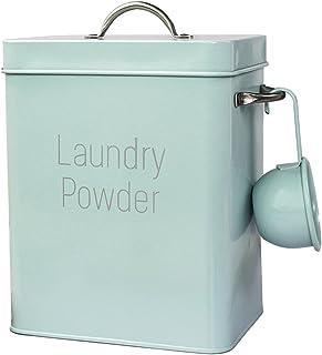 Jatour Kosz na pranie w proszku, puszka do przechowywania pudru z gałką, szczelna pokrywa i uchwyty, pojemnik na detergent...
