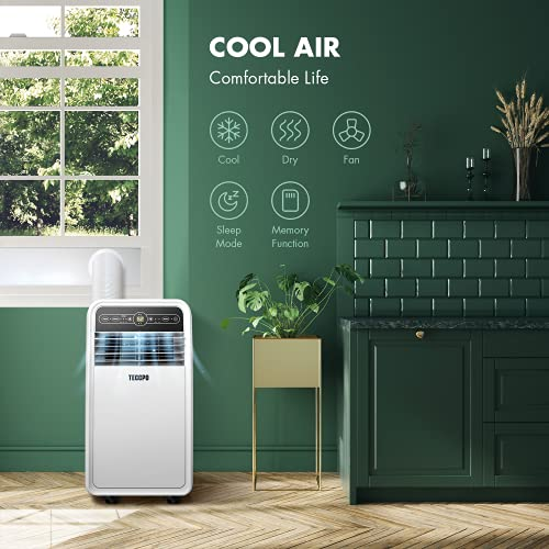 TECCPO Portable Air Conditioner TAK04C, Portable AC with Dehumidifier for Rooms up to 200 Sq.Ft, 3-in-1 with Remote Control, 8000 BTU