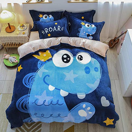 N / A Cute girl heart four-piece flannel coral velvet crystal velvet princess style student dormitory single bed supplies-Cute pet dinosaur_1.5m four-piece set (quilt cover 200 * 230)