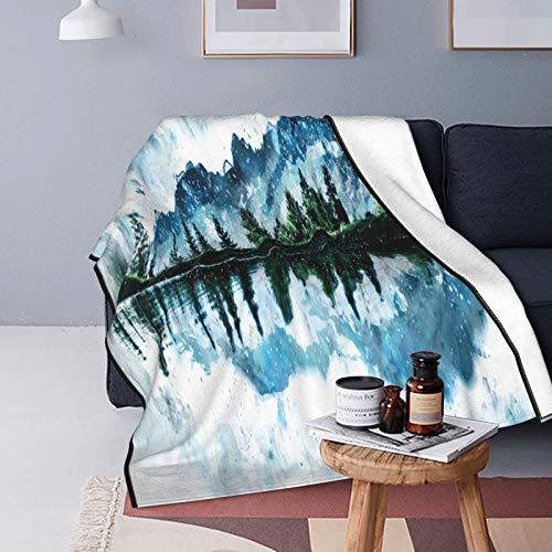 Manta de forro polar ultra suave, decoración del hogar de los árboles, manta cálida para sofá cama de 156 x 150 cm