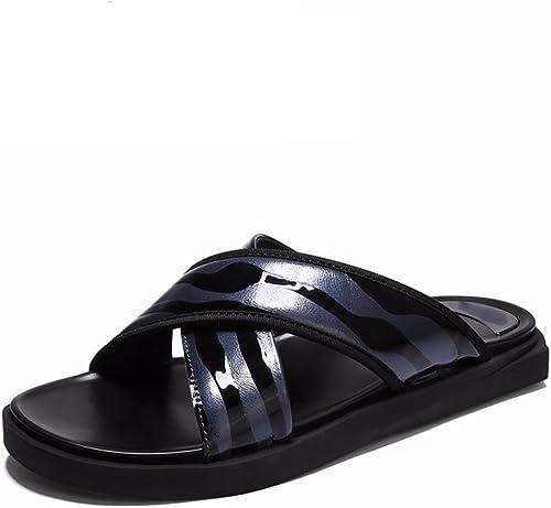 JIANXIN Pantoufles Hommes SurvêteHommest été Tendances Extérieures Base Souple Non-Slip Plage De Sable Sandales Grandes Pantoufles (Couleur   Bleu, Taille   EU 43 US 13 UK 11)
