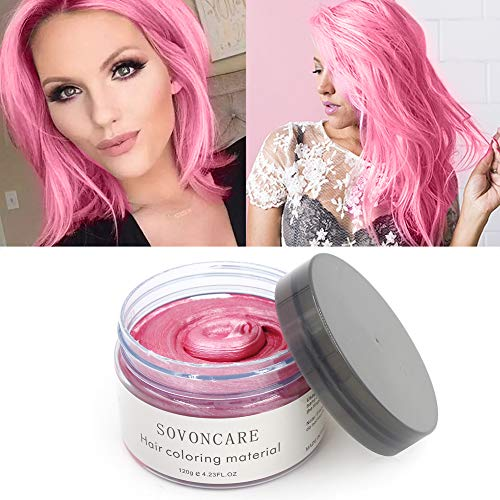 Temporary Hair Wax Color Pink Natural Matte Hairstyle for Kids Men Women Hair Dye for Party Cosplay Date Halloween