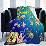 GIPHOJO Flannel Blanket Sp-on-ge and bob Luxury Microfiber Throw Blankets Lightweight Tapestry for Bed Sofa Couch Living Room Home Office Beach Picnic Car Travel 80'x60' Gifts