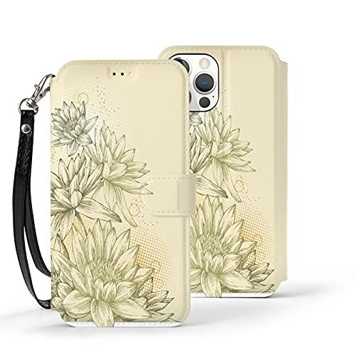 Funda para iPhone 11,Funda Tipo Cartera para iPhone 11 con Tarjetero,Flores Blancas y Negras,Funda Protectora Interior de TPU a Prueba de Golpes para iPhone 11 de 6.1 Pulgadas