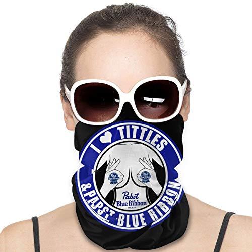 Huigaian I Love Tittles And Pabst Blue Ribbon Neck Gaiter Headwear Face Sun Mask Magic Scarf Bandana Sturmhaube Stirnband