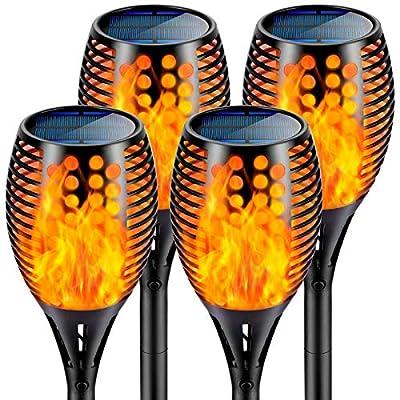 Nekteck Outdoor Torch Light with Flickering Dancing Flames, Waterproof Solar Powered LED Landscape Spotlights Security Decoration for Yard Pool Patio Garden Pathway Walkway 4 Pack, Black