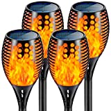 Nekteck Solar Torch Lights Outdoor Decorative with Flickering Flame, 4 Pack Waterproof 96LED Solar Lights Landscape Lighting Auto On/Off Security for Yard Pool Patio Garden Path Driveway