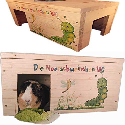 Nagerhaus Natur Meerschweinchen Gehege Zubehör mit 2 Eingängen, Stabil, Holzlasur & Aufklappbar / 45x25x22cm