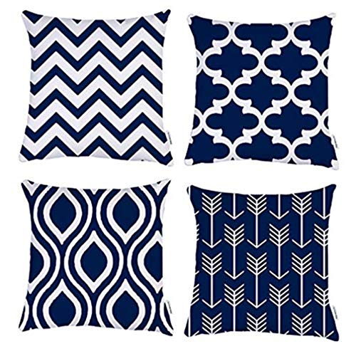 TIDWIACE Navy Blue Cushion Cover Cotton and linen Decorative Square Throw Pillow Cases for Sofa Bedroom 18 x 18 Inch With Invisible Zipper 45 x 45 cm,Set of 4
