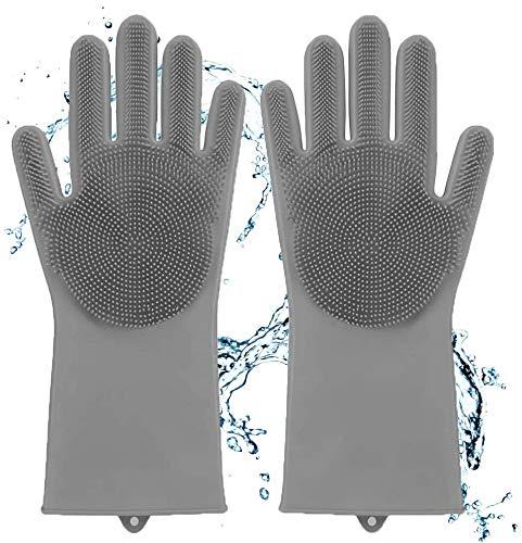 didaINTシリコングローブ(1ペア:左+右)、耐熱グローブキッチンツールクリーニング、家庭用掃除手袋、 高温および低温の油性腐食液作業手袋 ペットブラシ グローブ 手袋 ペット シャワーブラシ マッサージ手袋 キッチン、バスルーム、皿洗い、車の洗浄、ペ