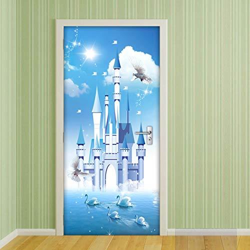 Vinyl deur muur muurschildering deur behang 77x200Cm zwaan Lake kasteel 3D deuren Refurbish zelfklevende decoratieve waterdichte muur Stickers voor slaapkamer wc huis décor 77x200cm