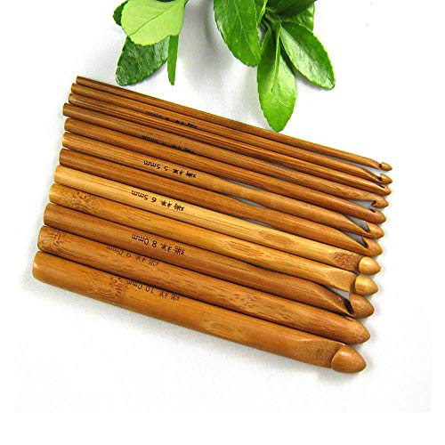 Agulha Para Crochê Bambu Importada Kit 12 Peças De 3mm A 10mm