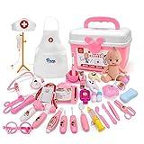 CT-Tribe Toys - 80118 - Dînette - Jouets d'imitation - Lot de 34 Dinette Enfant - Jeu Imiter Docteur - Game Éducatif - Boîte de Secours Stéthoscope Thermomètre Outils Médical - Rose