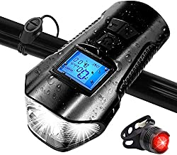 Bike Light Set, Speedometer LED Bike Lights with Horn, LCD Display USB Rechargeable Bike Tail Light and Cycle Head Light Front Light Set, Fits All Mountain & Road Bike, IP65 Waterproof