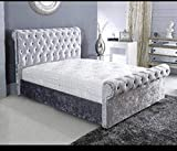 New Sleigh Diamante Crushed Velvet Fabric Upholstered Bed Frame 4ft6 Double, 5ft Kingsize by Sleep Zone ltd (Silver, 4ft6 Double)