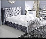 New Sleigh Diamante Crushed Velvet Fabric Upholstered Bed Frame 4ft6 Double, 5ft Kingsize by Sleep Z...