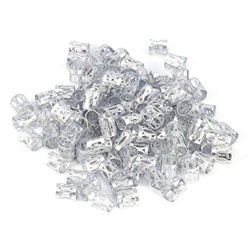 Haar Dreadlocks, 100 Stücke/beutel Neue Bunte Haar Flechten Perlen Ringe Manschette Styling Dekoration Werkzeuge 7 Farben(Silber)