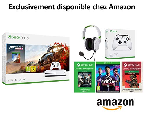 Pack Xbox One S Forza Horizon 4 + Casque Turtle Beach Recon 50x White + 2e Manette Xbox One Blanche + FIFA 19 + Gears Of War 4 + Apex Legends Founders Pack 2