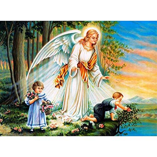 5D DIY Diamond Painting by Number Kit Angel Girl Square Drill,90x70cm Adults and Kids Full Drill Beads Crystal Rhinestone Embroidery Cross Stitch Picture Supplies Arts Craft for Home Wall Decor U1520